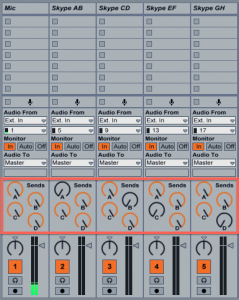 Send knobs in Live's input channels